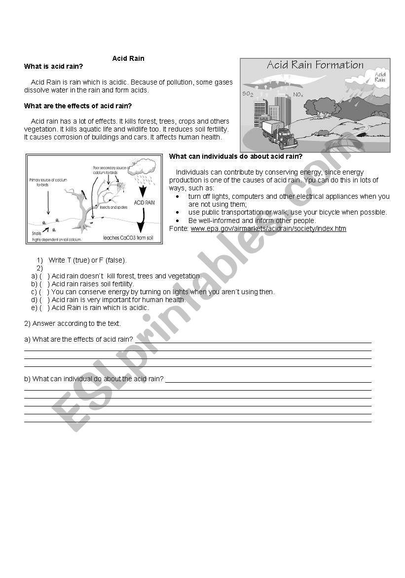 Acid Rain Esl Worksheet By Aphrodite11br