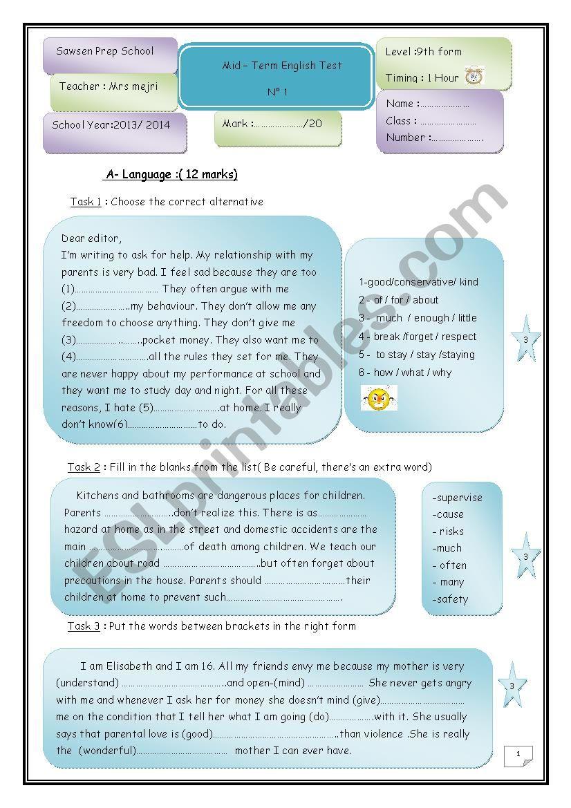 Mid - Term  test n°1 worksheet