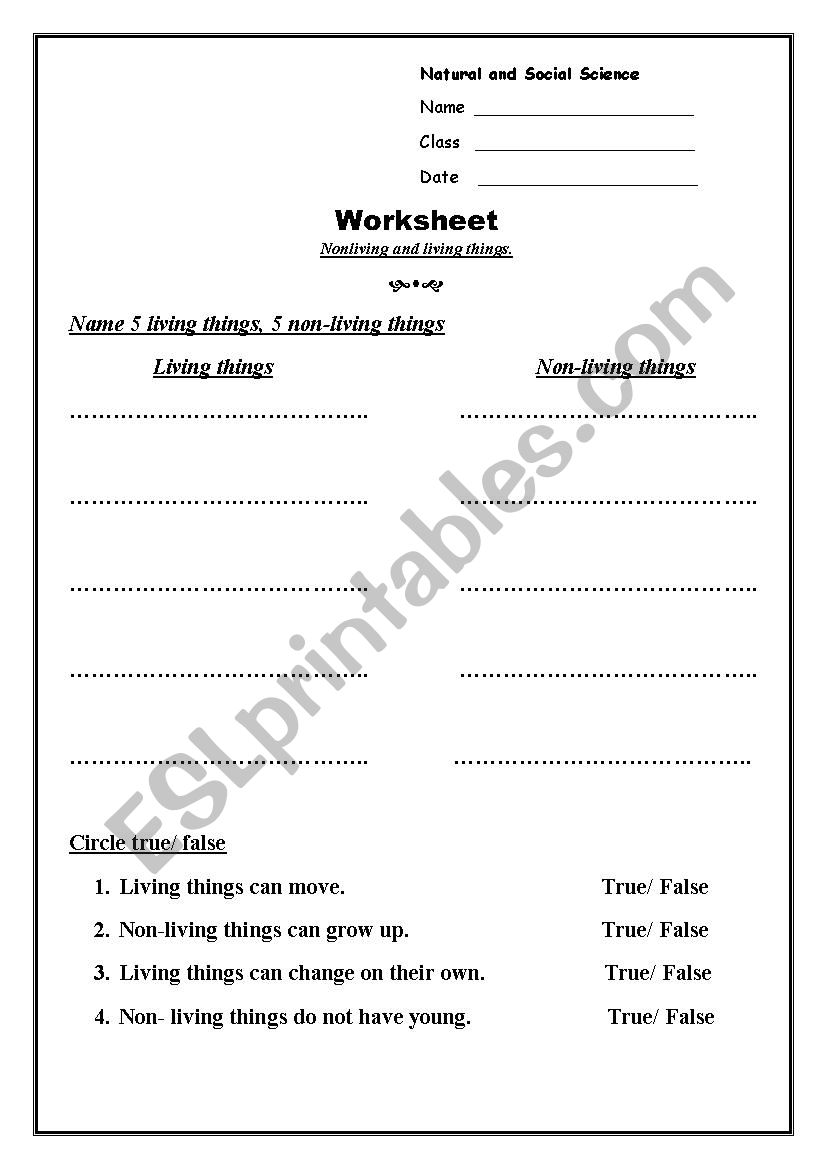 Living and Nonliving things - ESL worksheet by Ngoc Anh Do