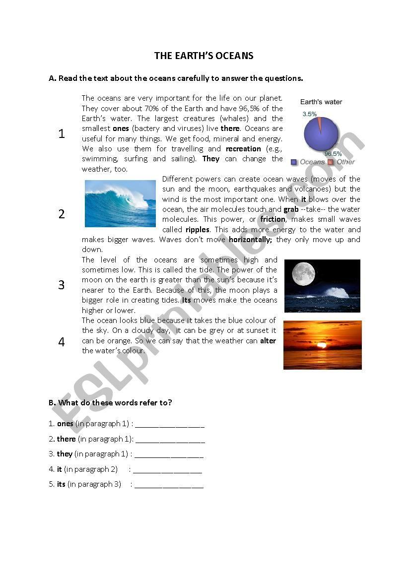 The Earth´s Oceans worksheet