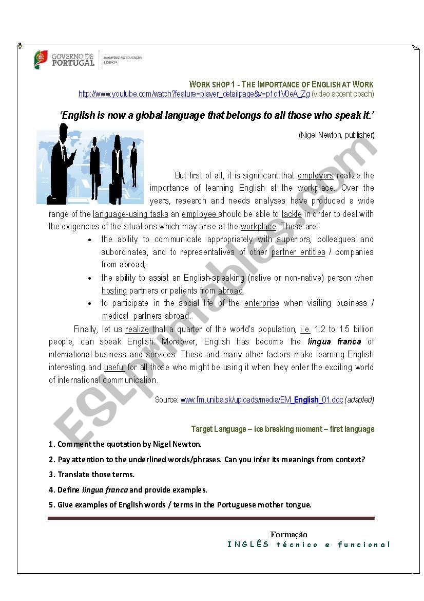 English workshop  worksheet