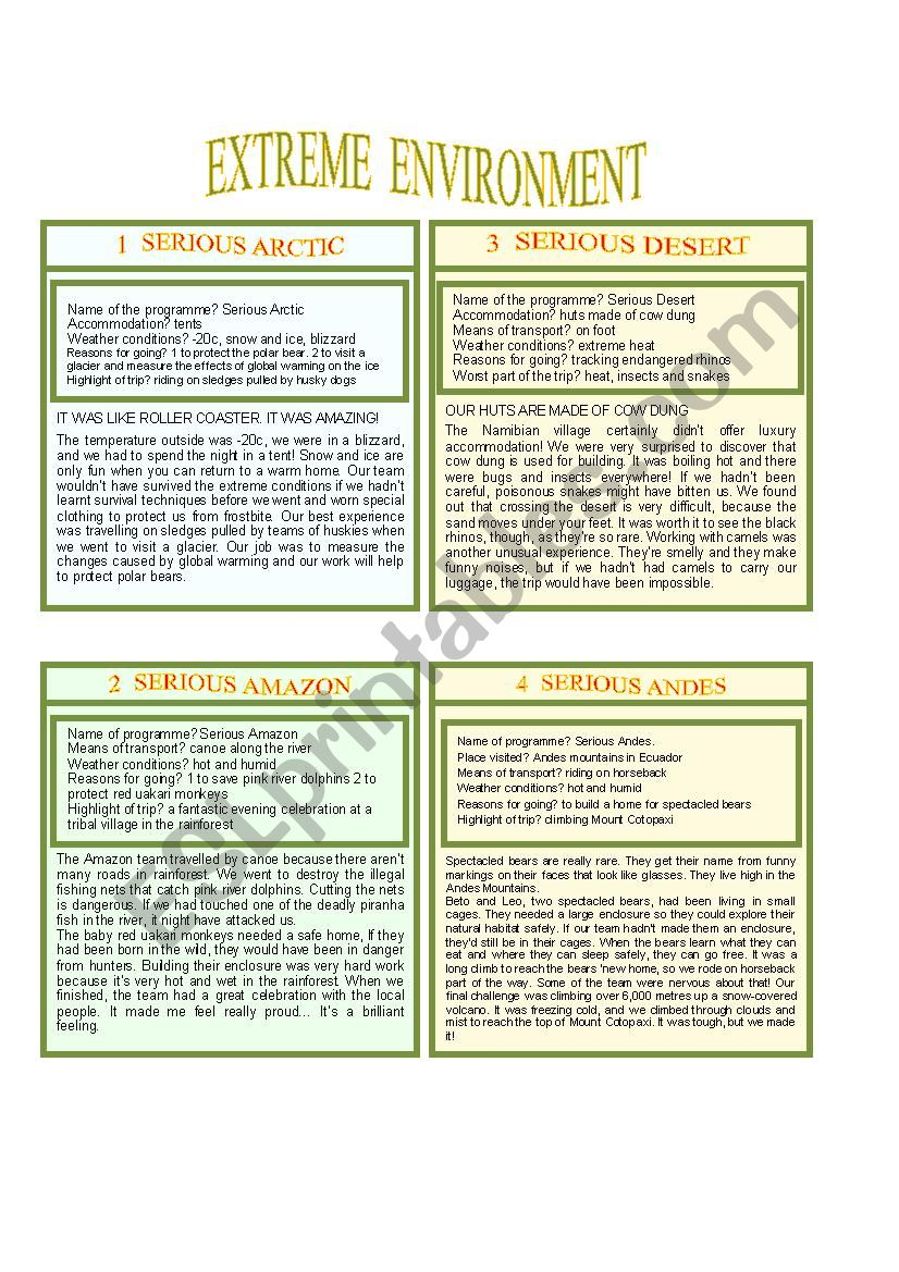 PART 2 Extreme weather and environment (from book Activate B1)