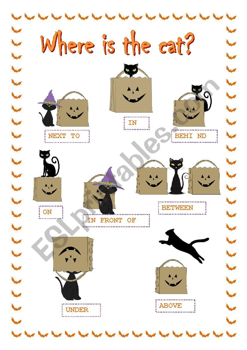 Halloween prepositions ***Where is the cat?***
