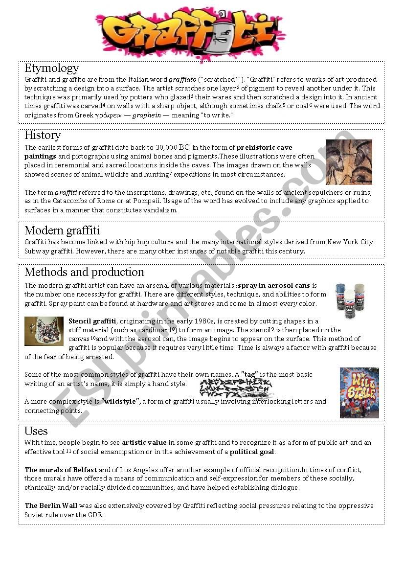Graffiti History worksheet