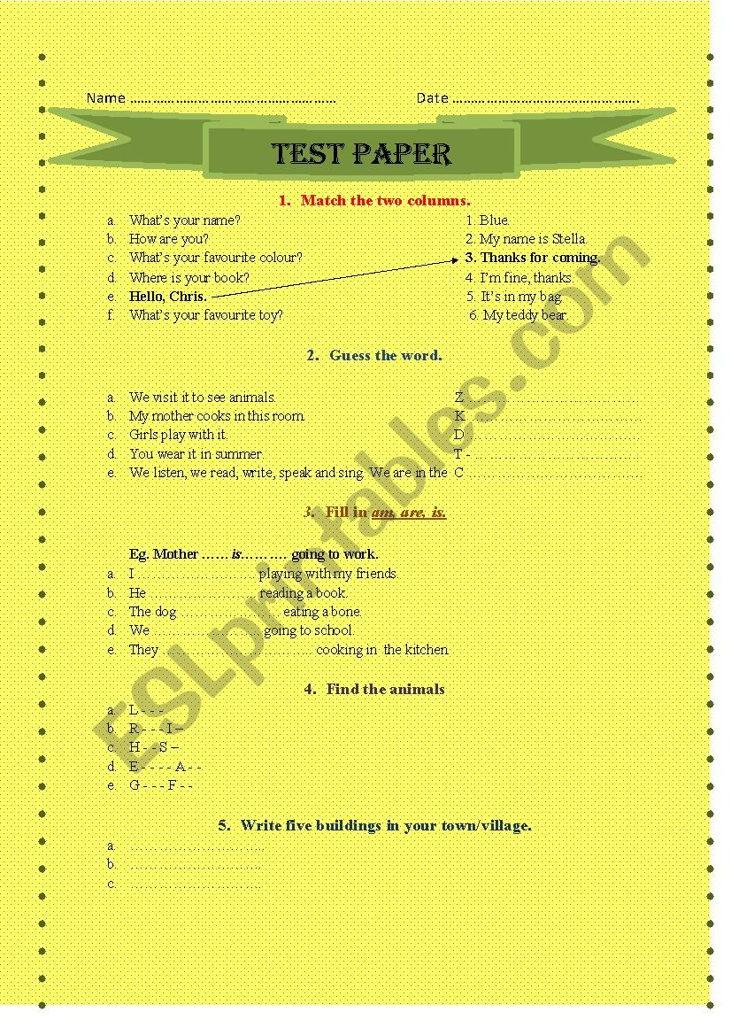 test paper worksheet