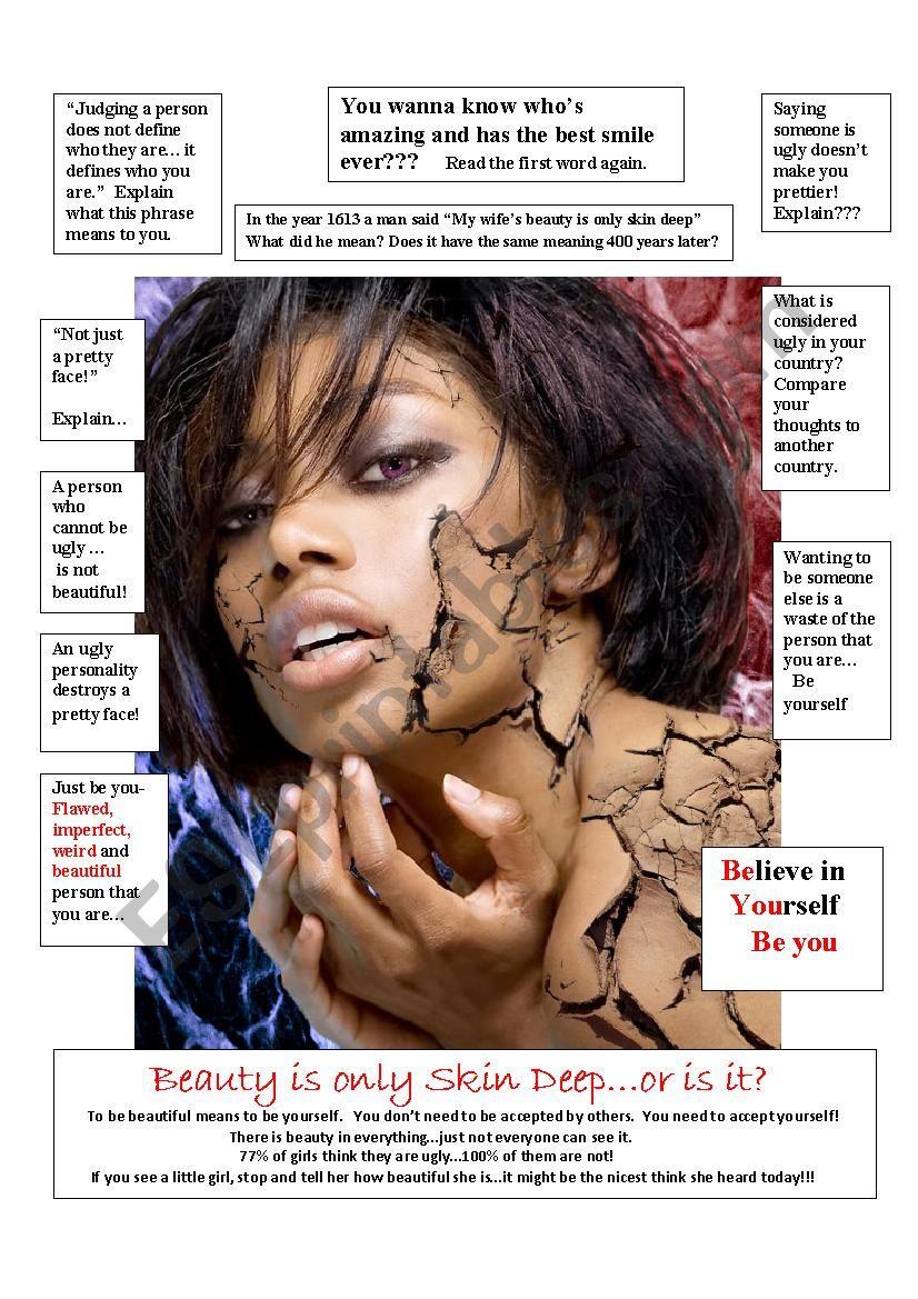 Beauty is only Skin Deep worksheet