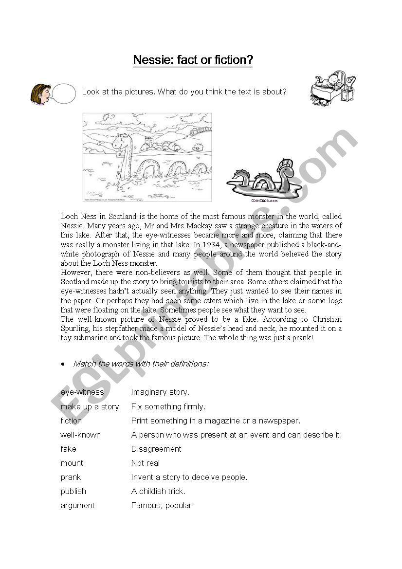 The Loch Ness monster worksheet