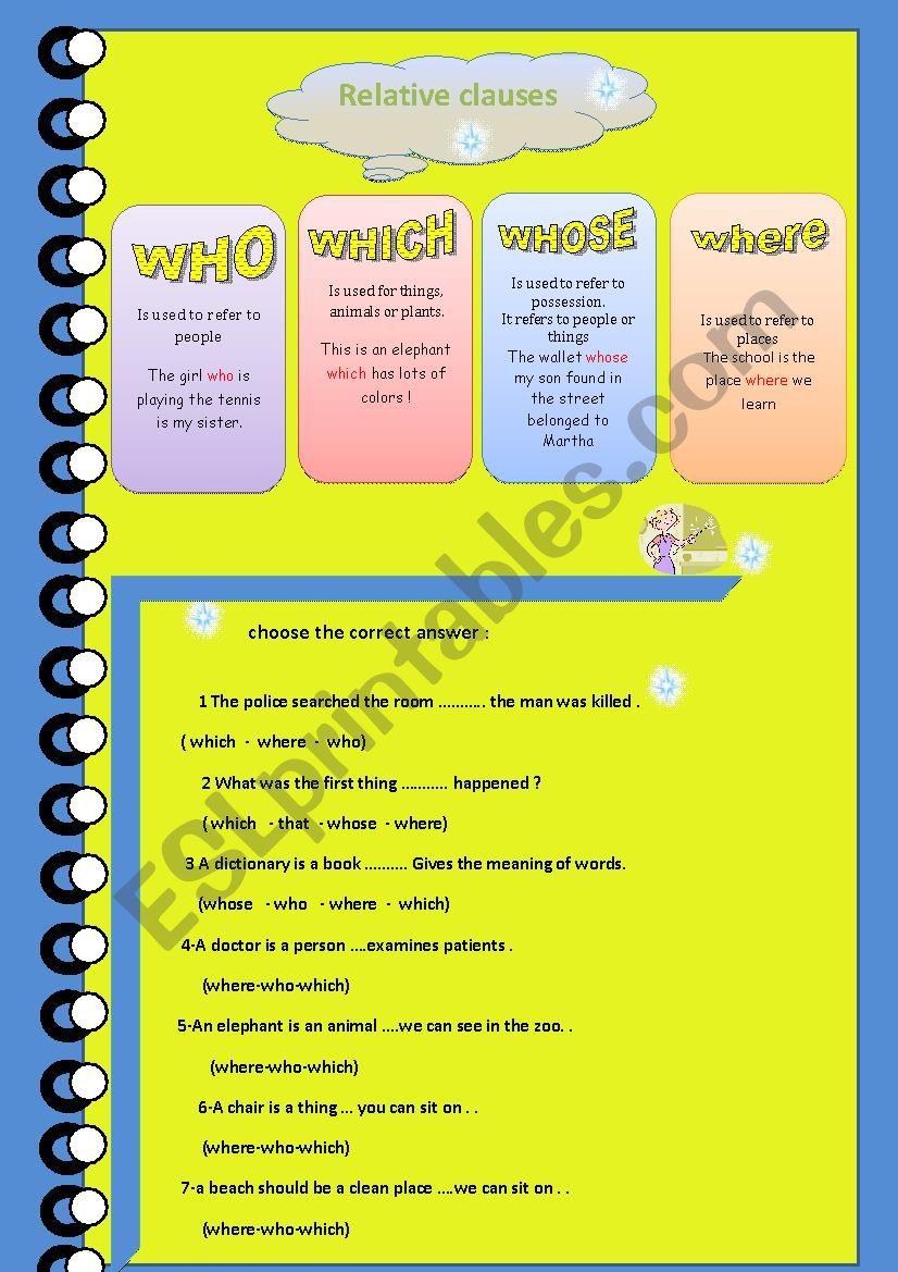 relative clauses worksheet