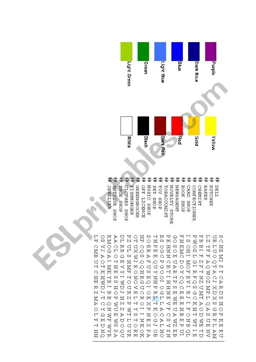 Colours, Shops Crossword worksheet