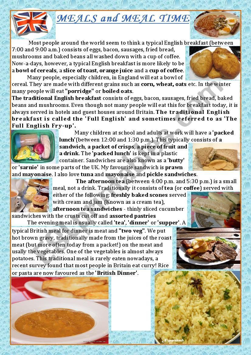 British food habits worksheet