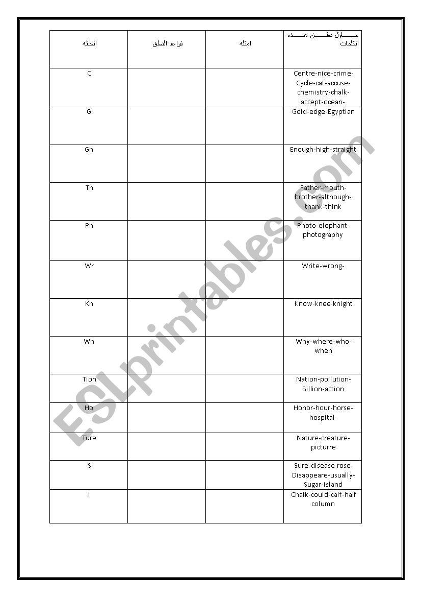 English learning worksheet
