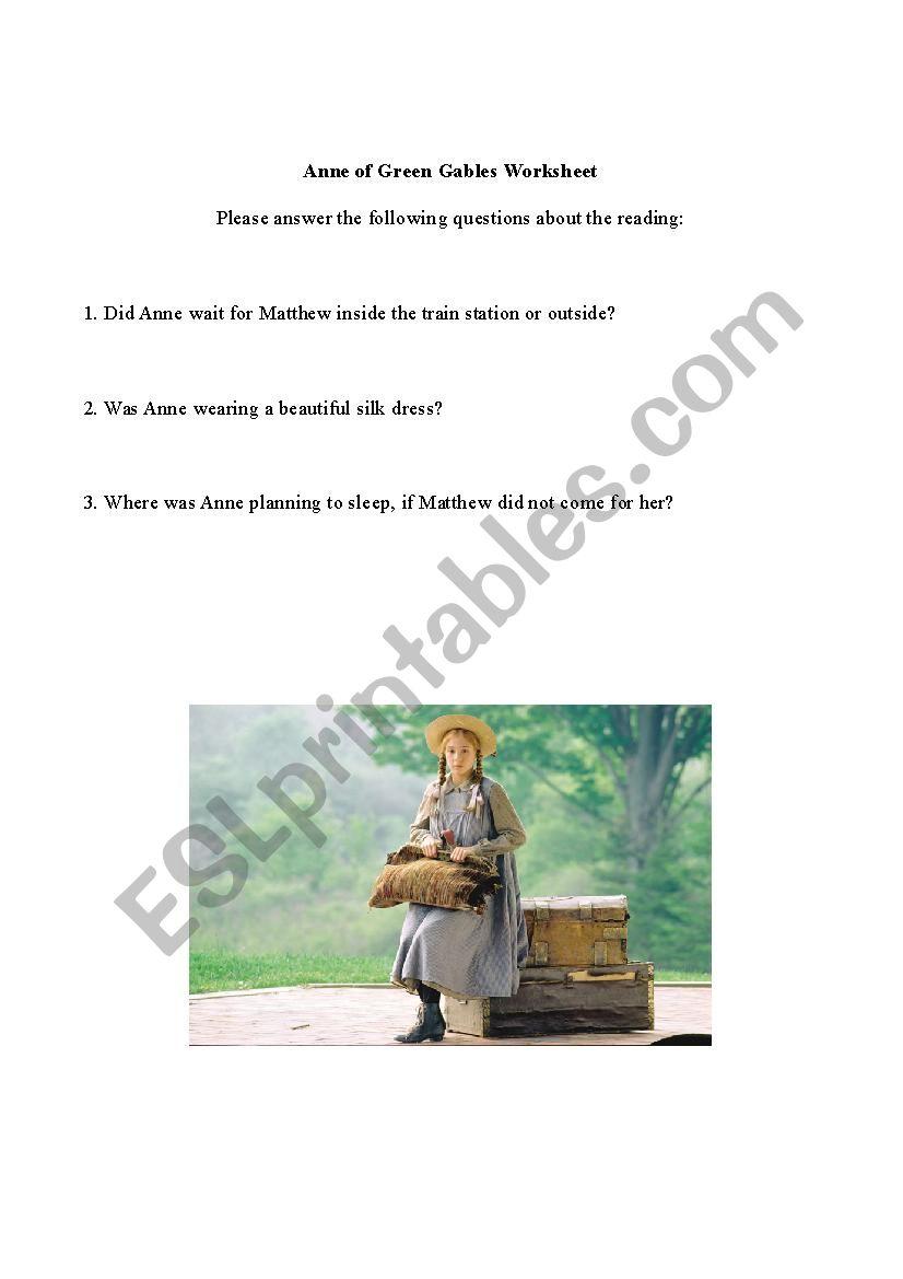 Anne of Green Gables Reading Exercise