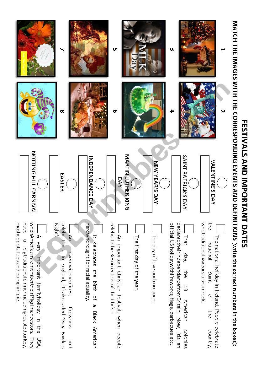 Festivals and important dates worksheet