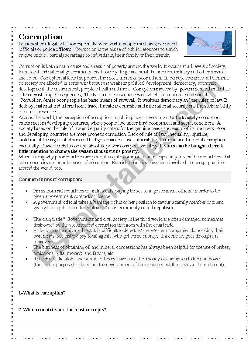 corruption worksheet