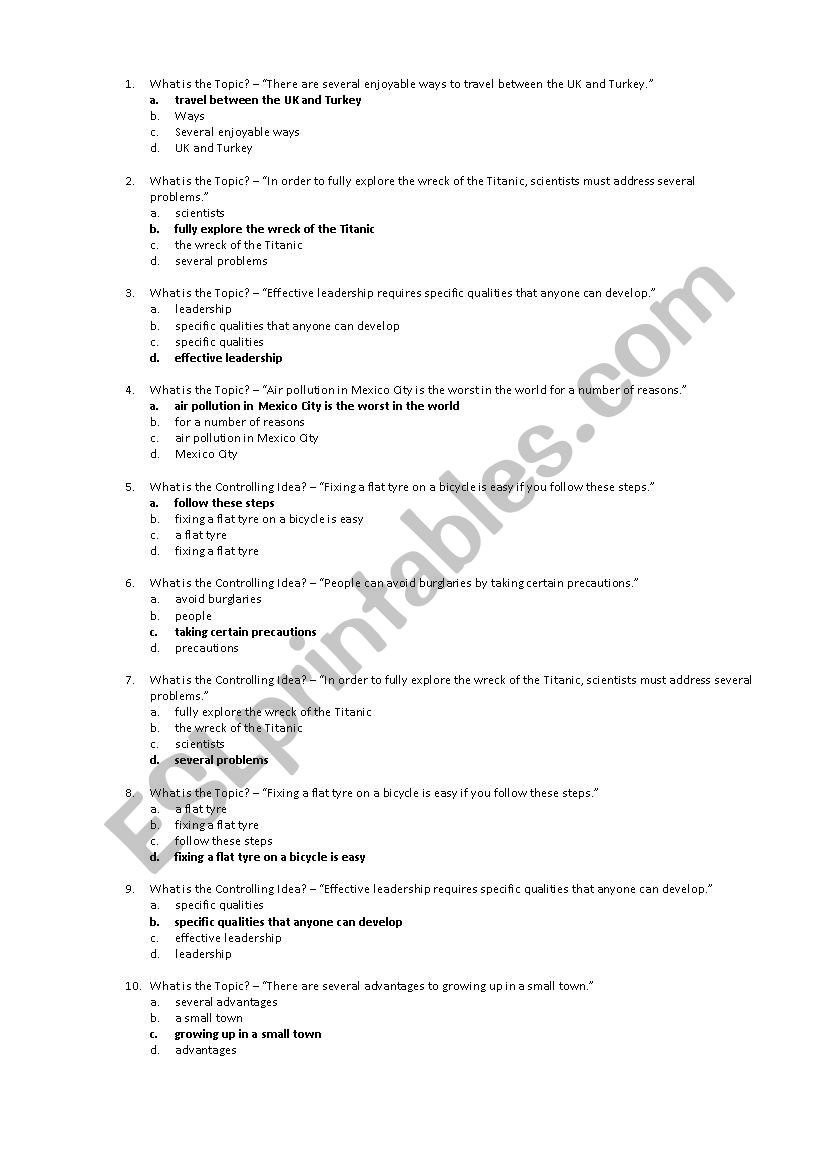 graphic relating to Leadership Quiz Printable identify Subject Sentence Quiz - ESL worksheet by means of jbryne