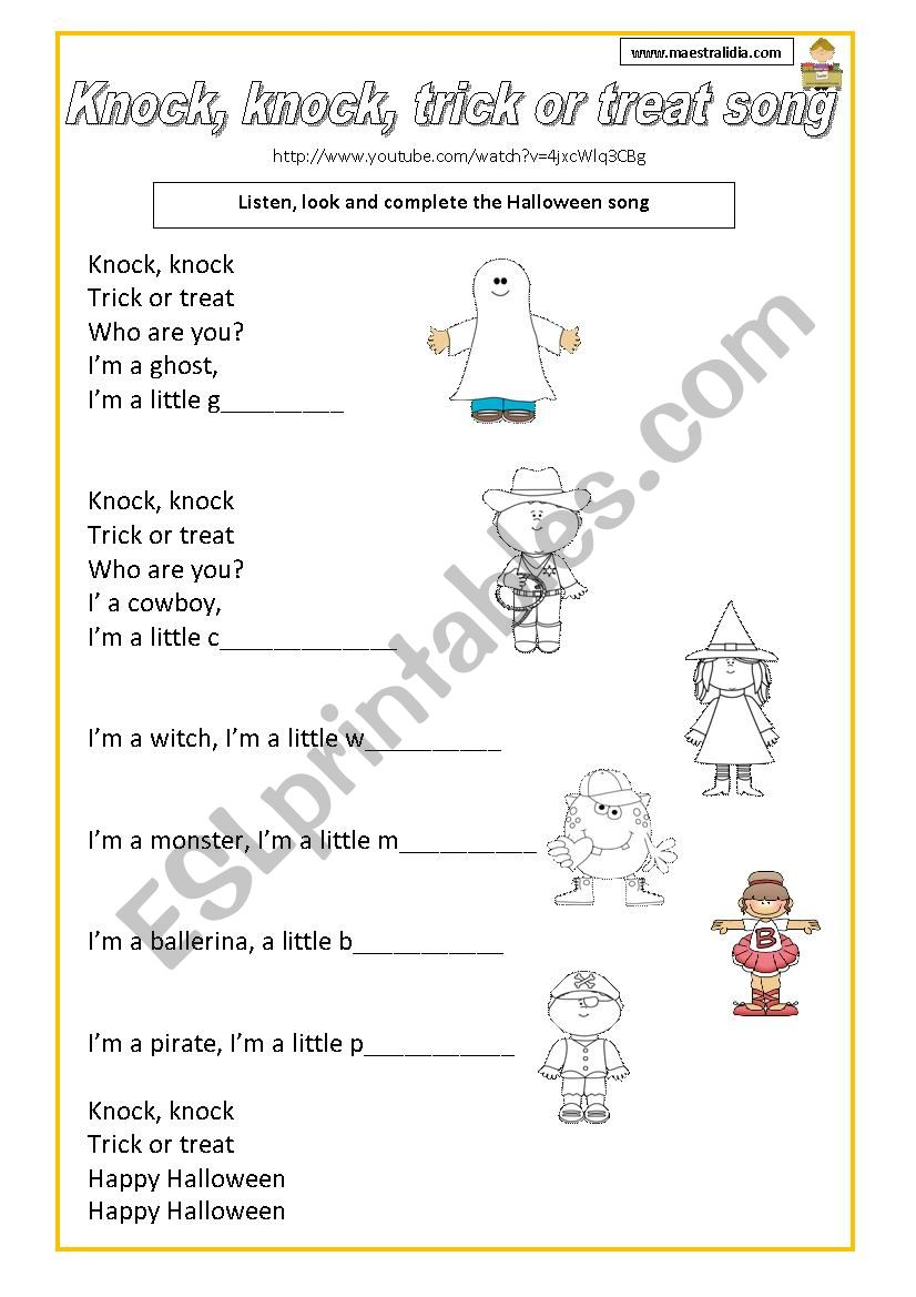 Halloween song with video worksheet