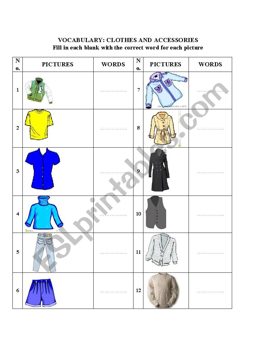 Vocabulary _ Clothes worksheet