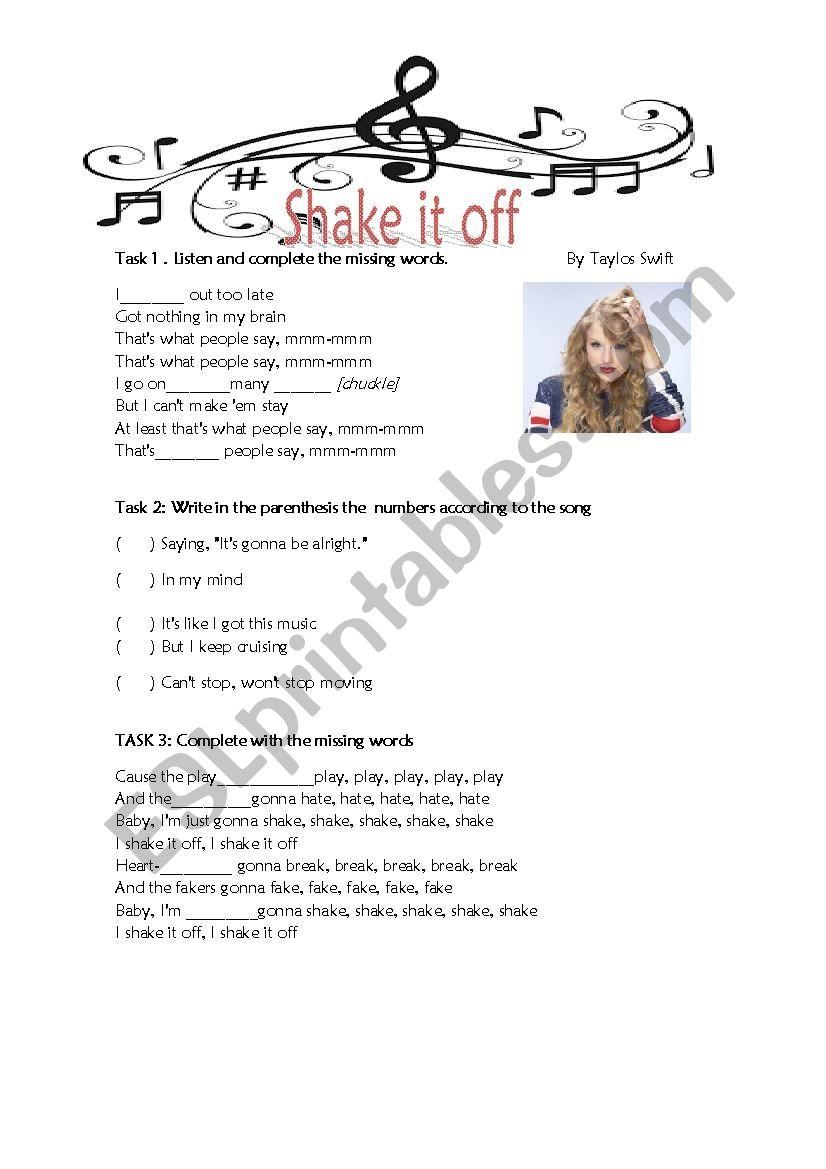 Shake it off worksheet