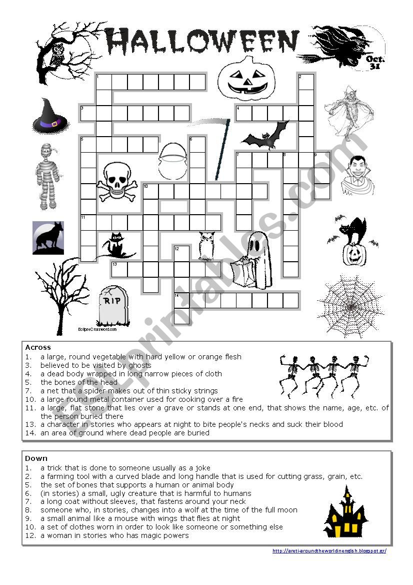 photo regarding Halloween Crossword Puzzles Printable identified as Halloween crossword - ESL worksheet by means of tranquil