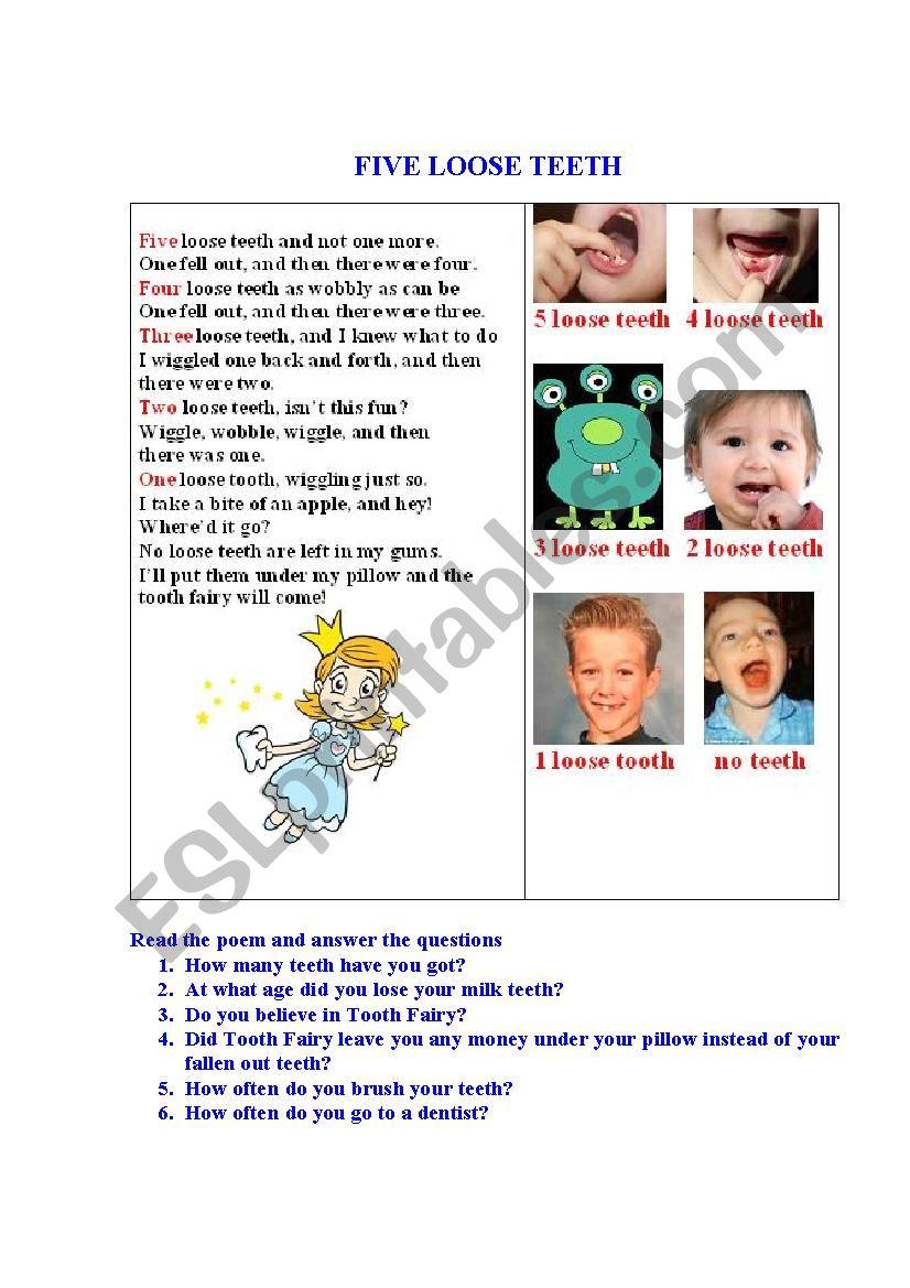 5 LOOSE TEETH A poem  worksheet