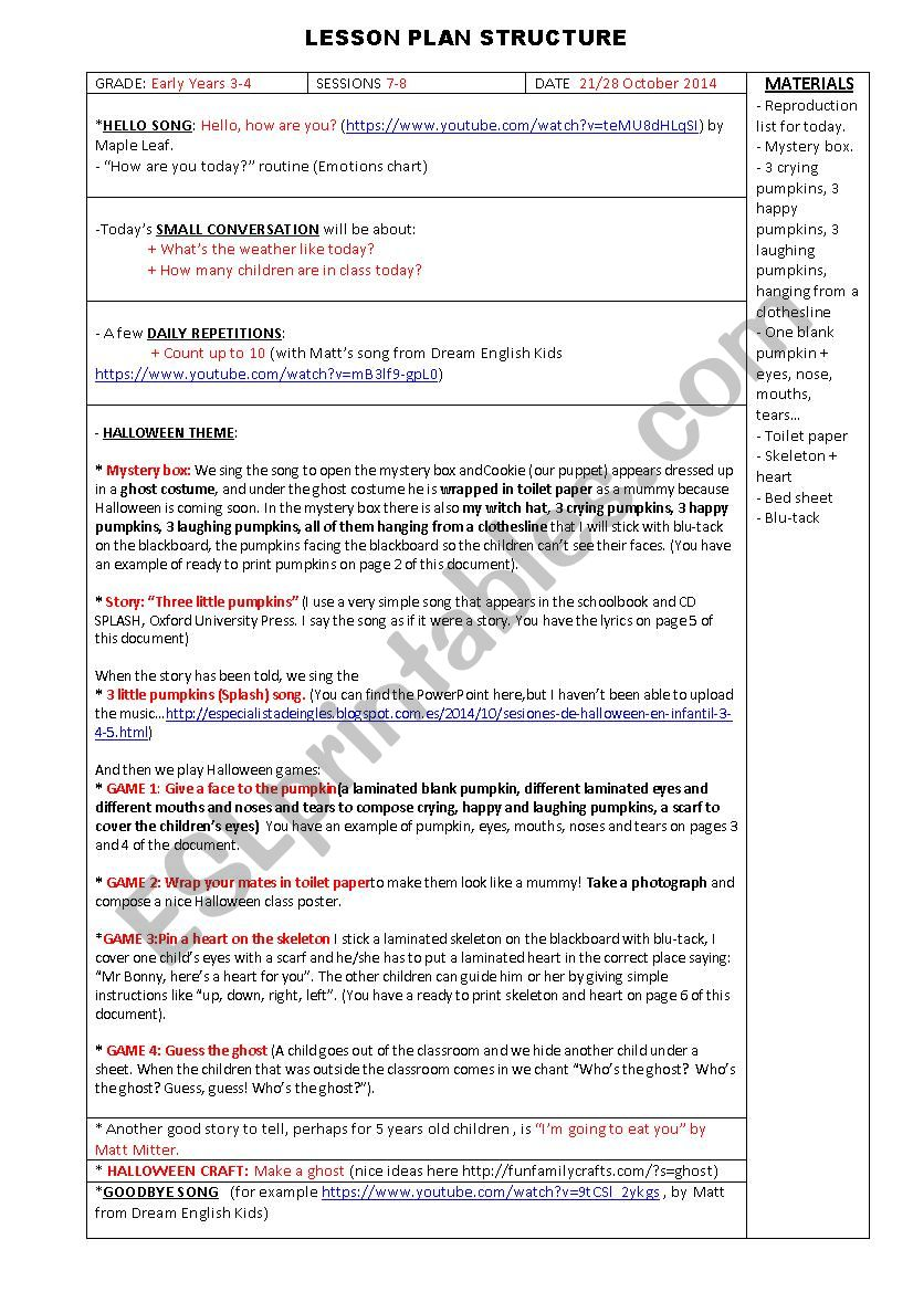 halloween lesson plan - early years - part i - esl worksheetpisiflor