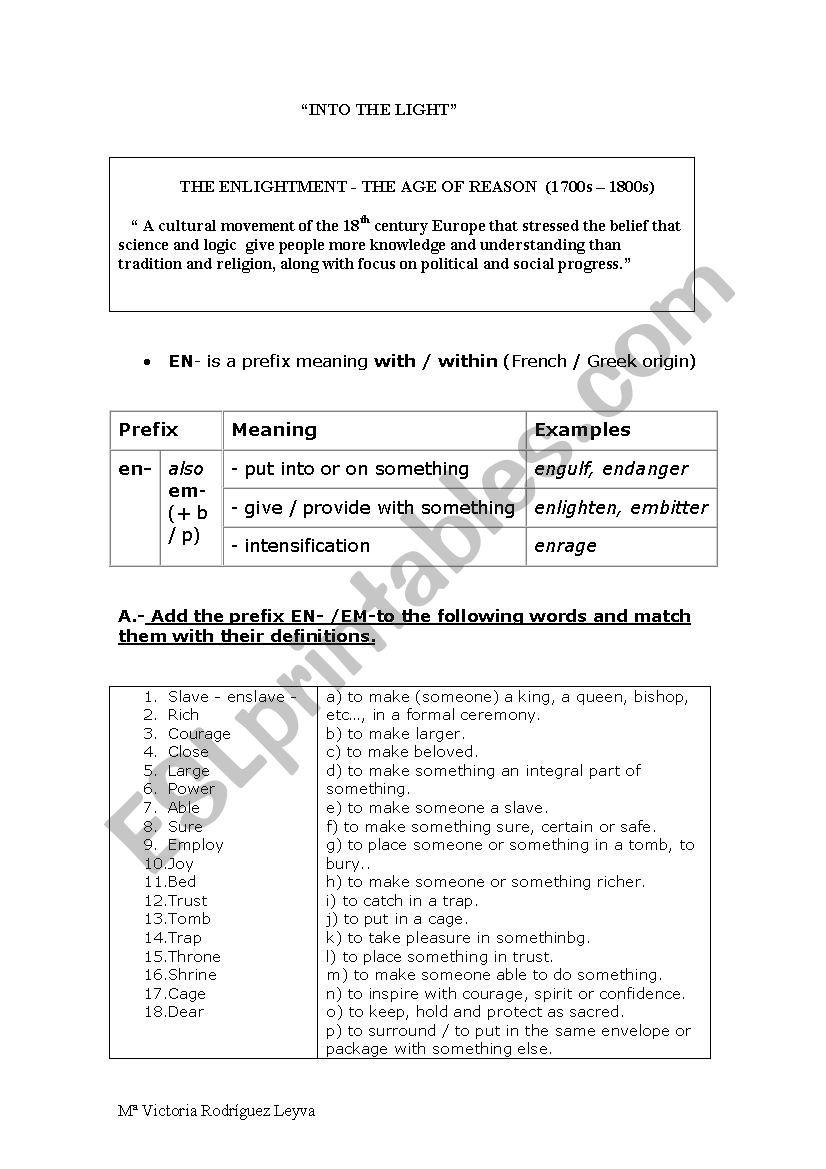 PREFIX EN- / EM- worksheet