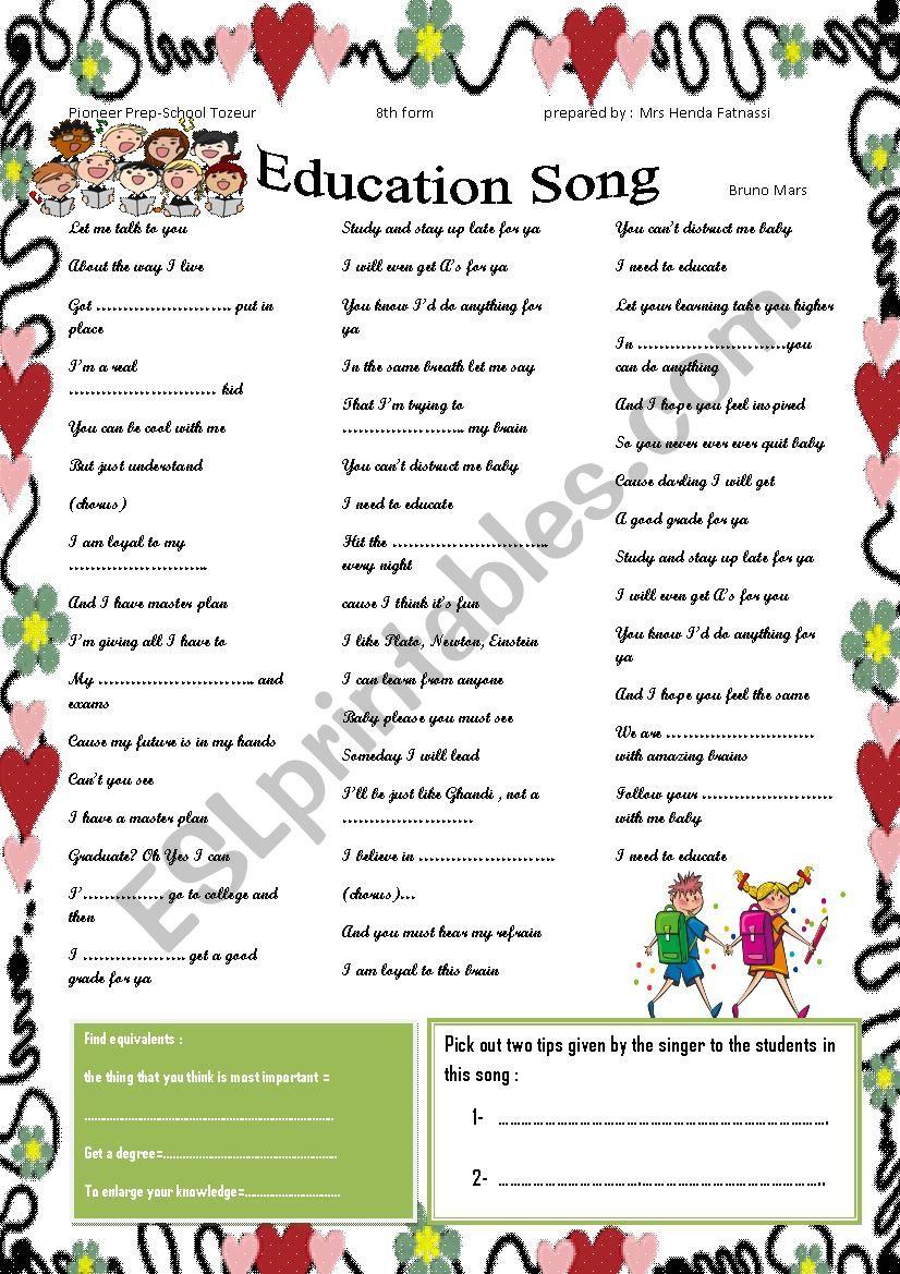 education song by Bruno Mars worksheet