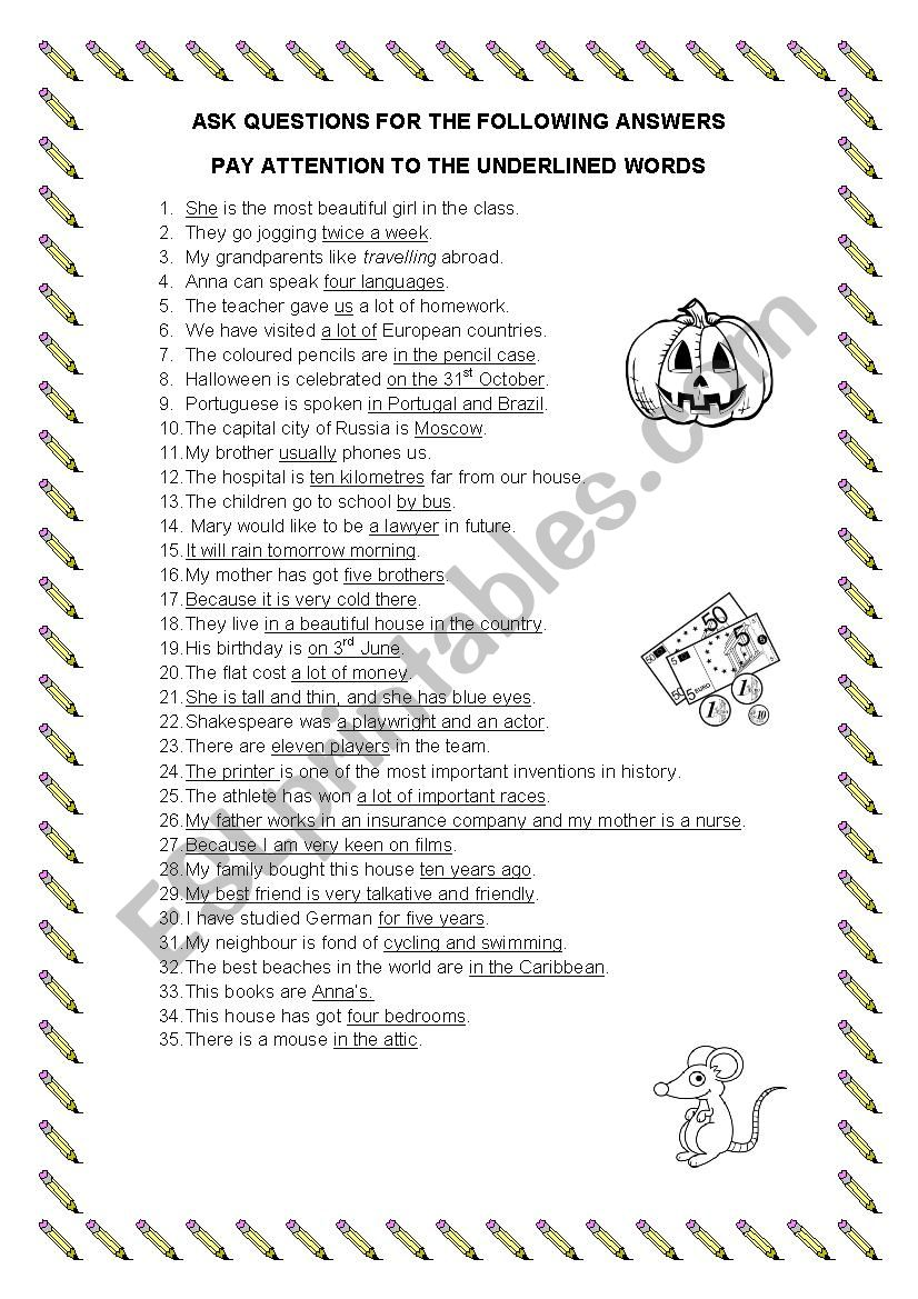ask questions for the answers worksheet