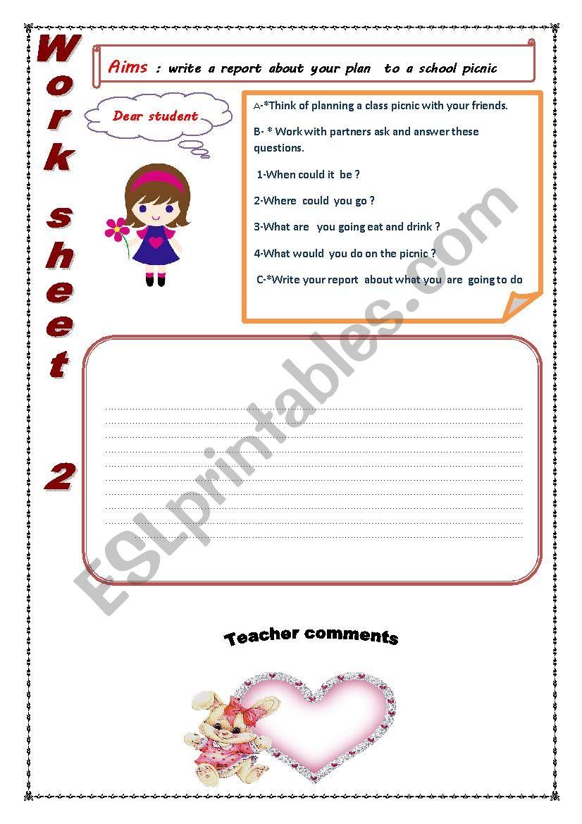 write a report  worksheet