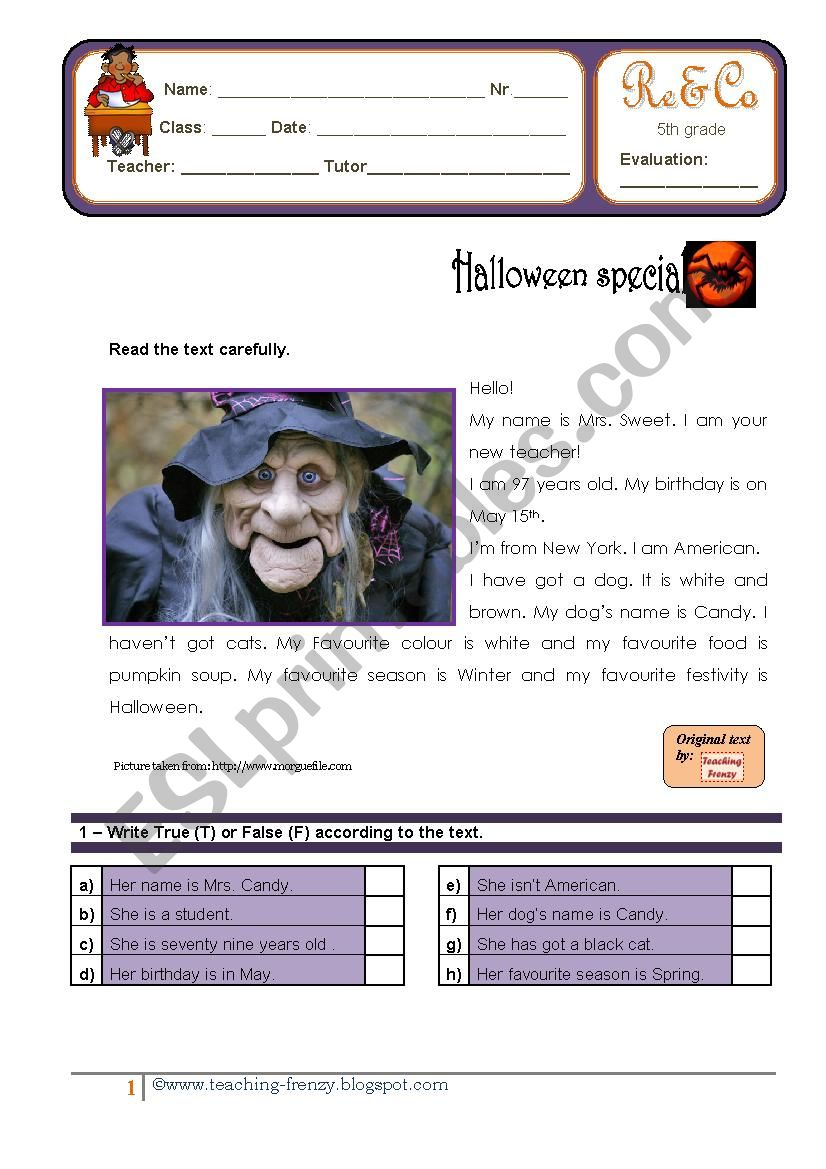 Reading Comprehension - Halloween