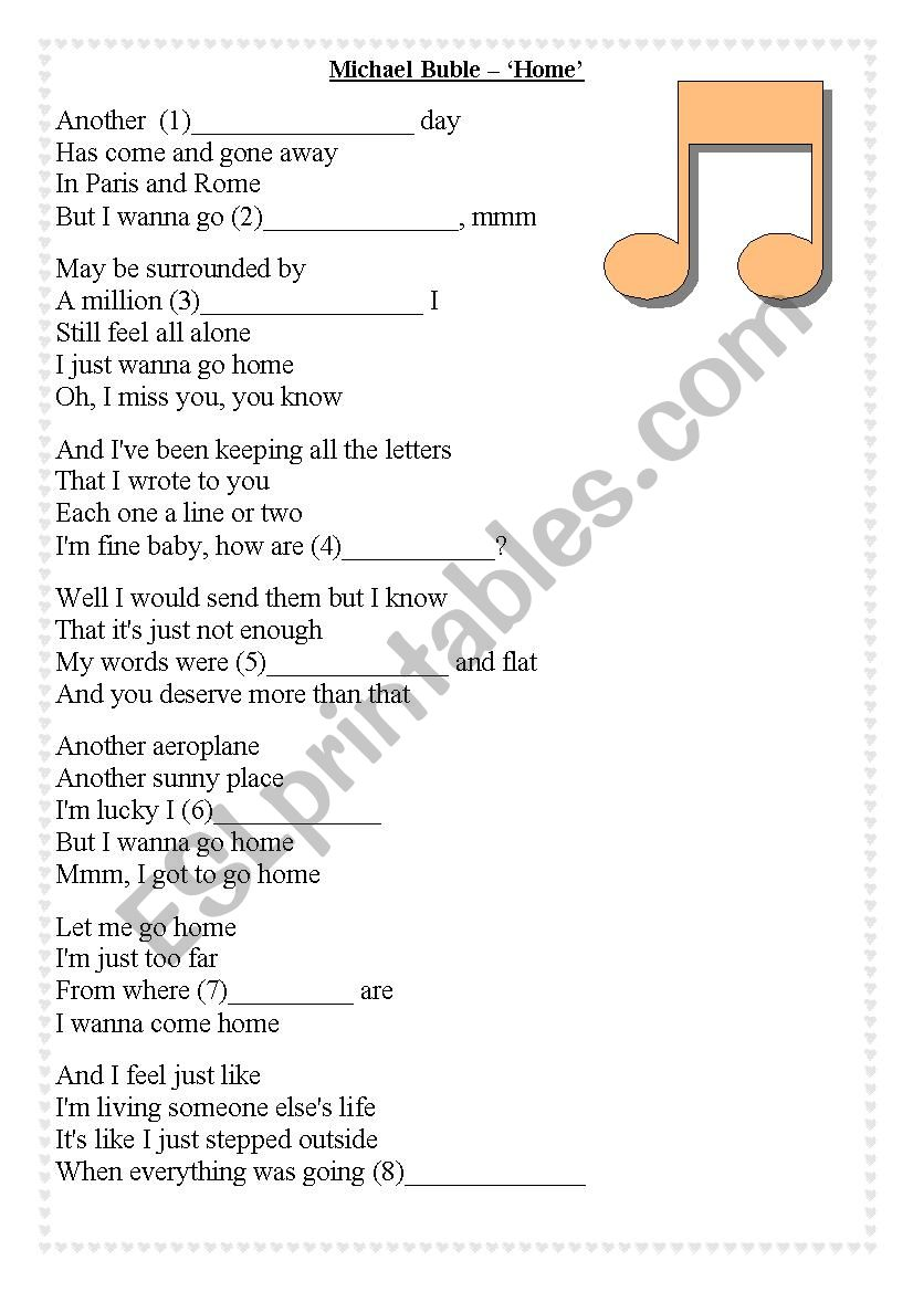 Michael Buble Home Fill In The Lyrics Gap Fill Esl Worksheet By Naty86