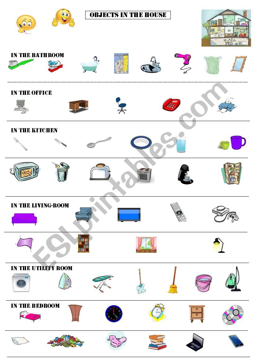 Objects in the House worksheet