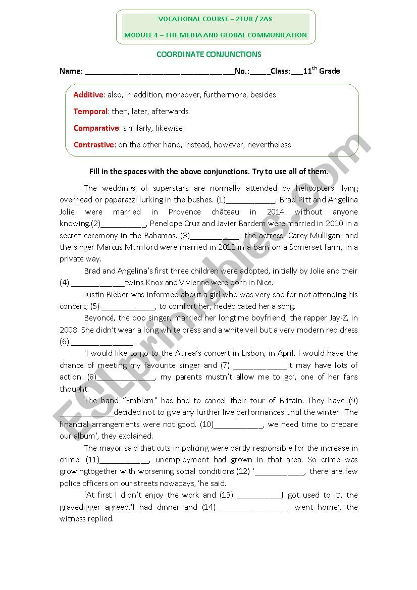 English Worksheet on conjunctions