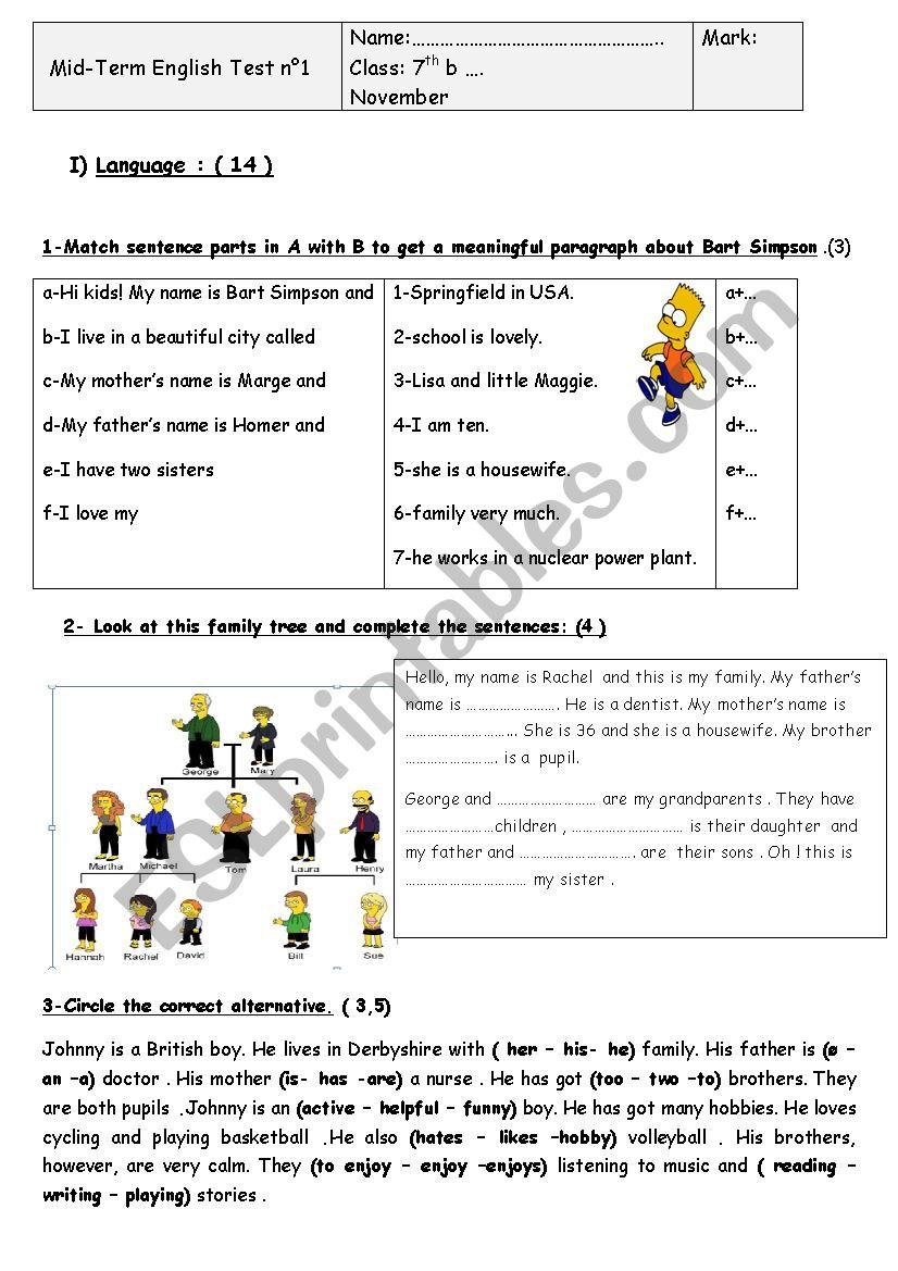 Mid Term Test N1 Esl Worksheet By Marane Nuclear Power Plant Diagram