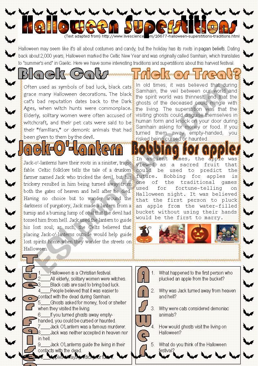 Halloween Superstitions worksheet