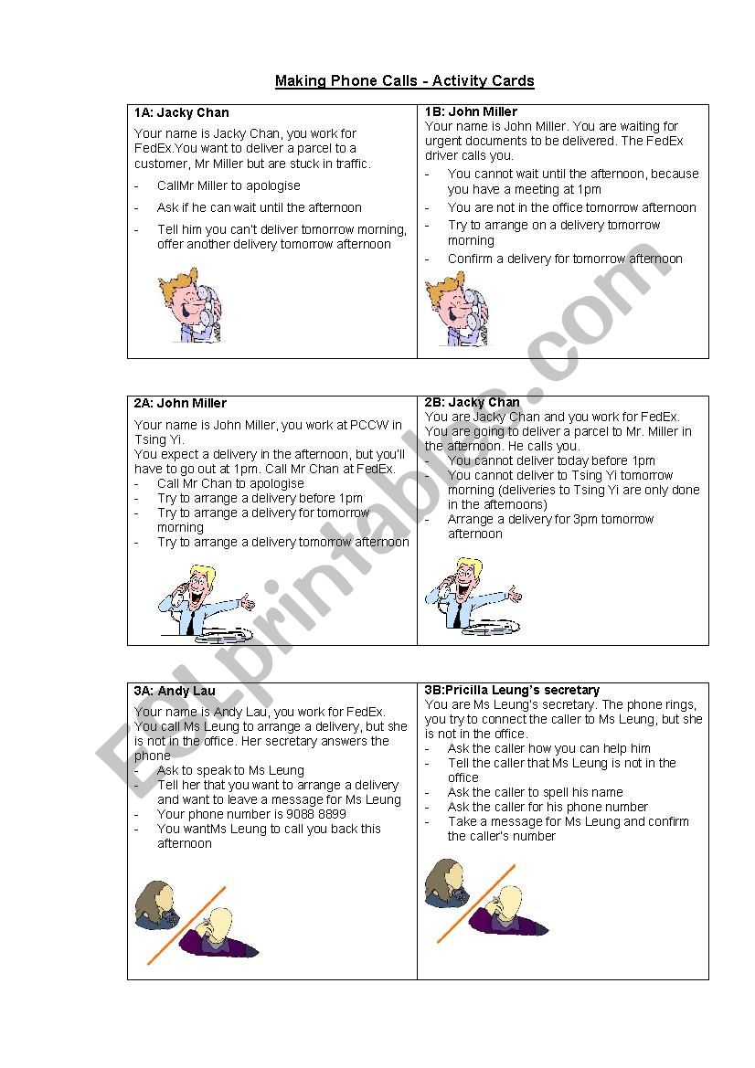Telephone Conversations - Activity Cards