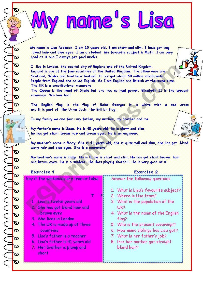My name´s Lisa worksheet