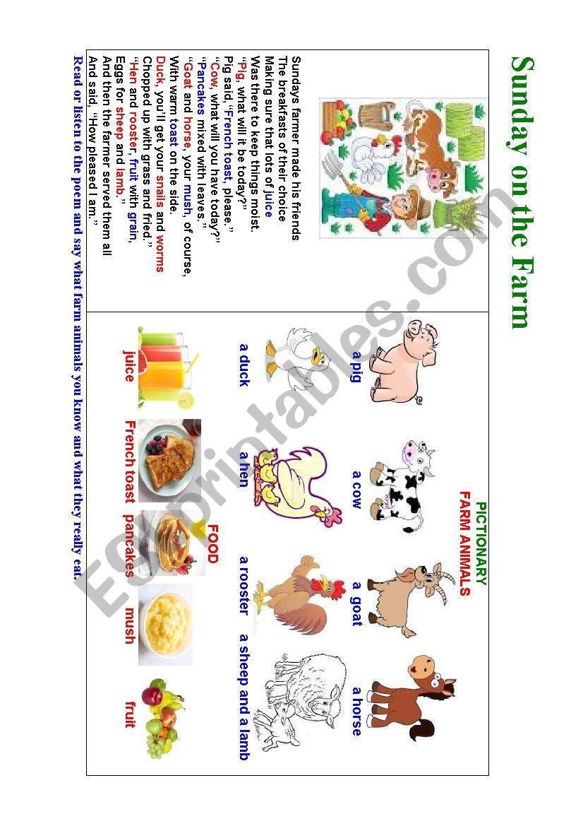SUNDAY ON THE FARM (an illustrated poem for kids)