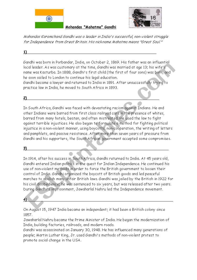Gandhi a short biography worksheet