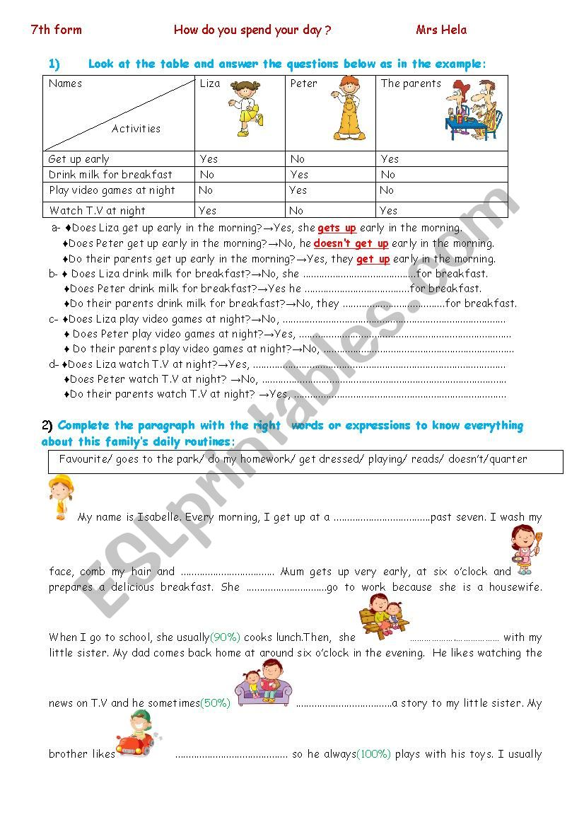 How do you spend your day? worksheet