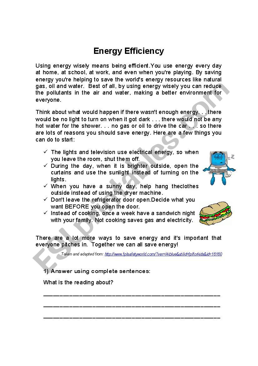 Reading Comprehension Energy Efficiency - ESL worksheet by ...