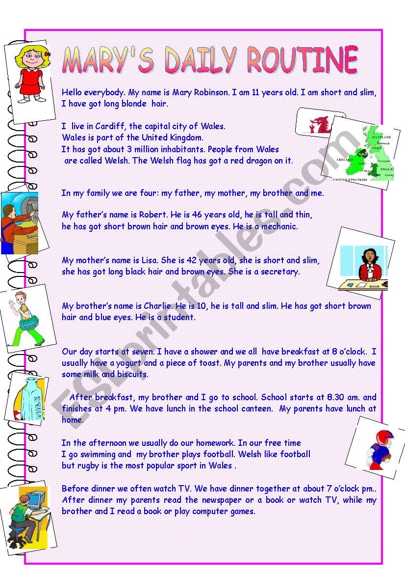 Mary´s daily routine worksheet