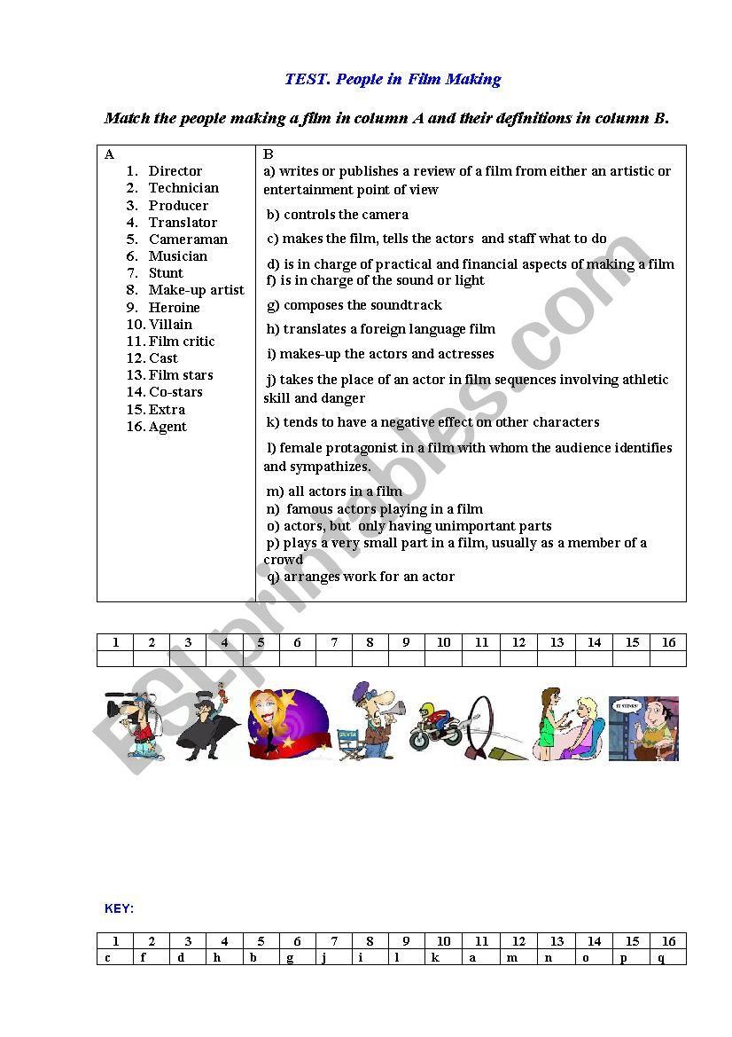 TEST. CINEMA PEOPLE worksheet