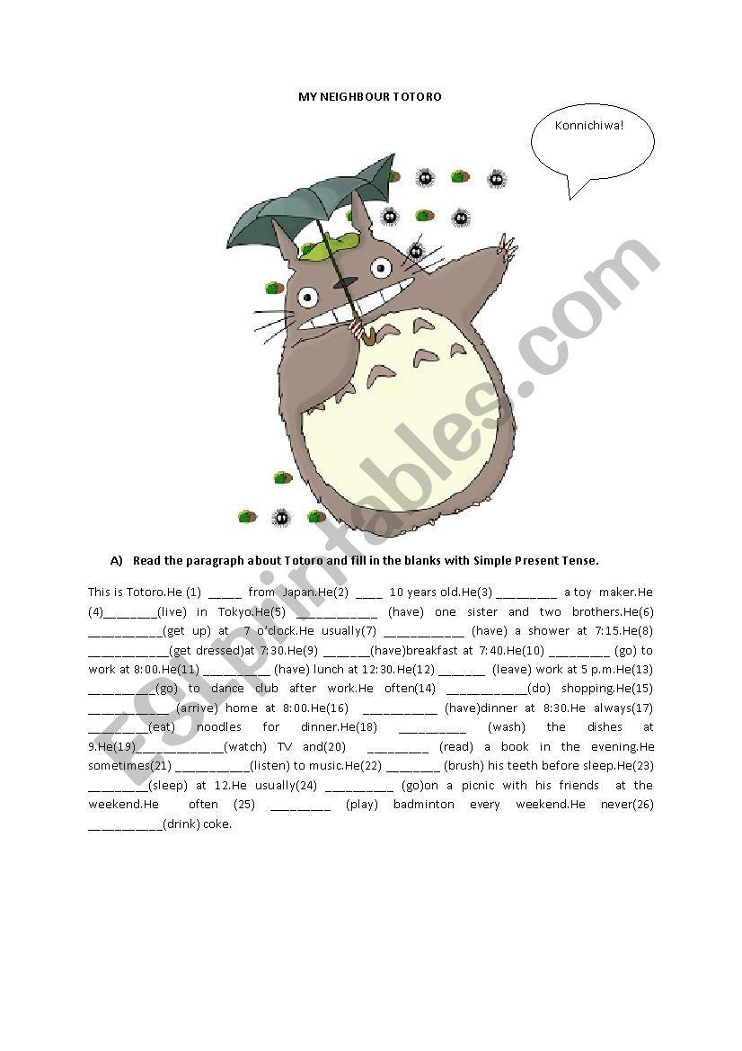 My neighbour totoro esl worksheet by juliachild my neighbour totoro worksheet ibookread ePUb