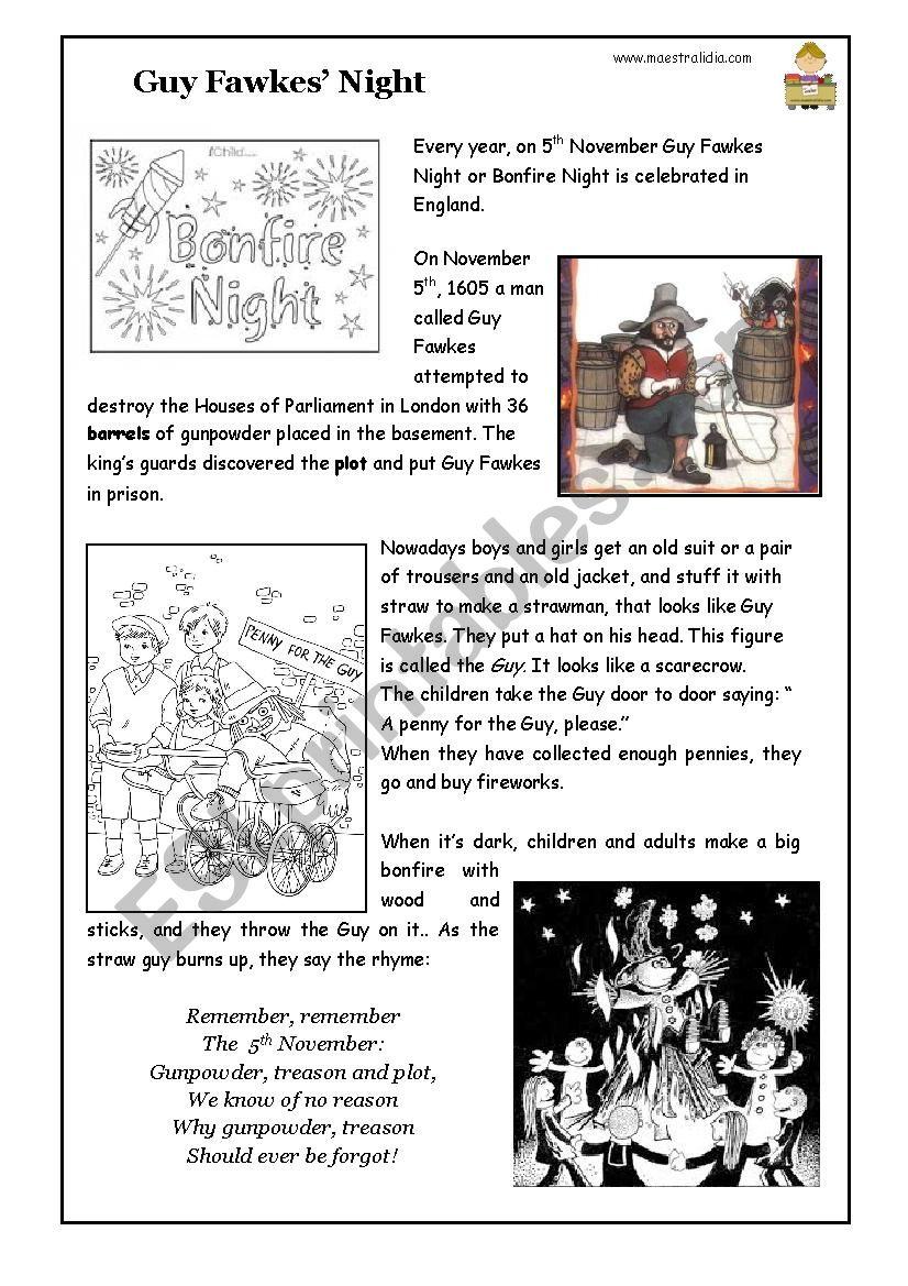 Guy Fawkes or Bonfire night worksheet