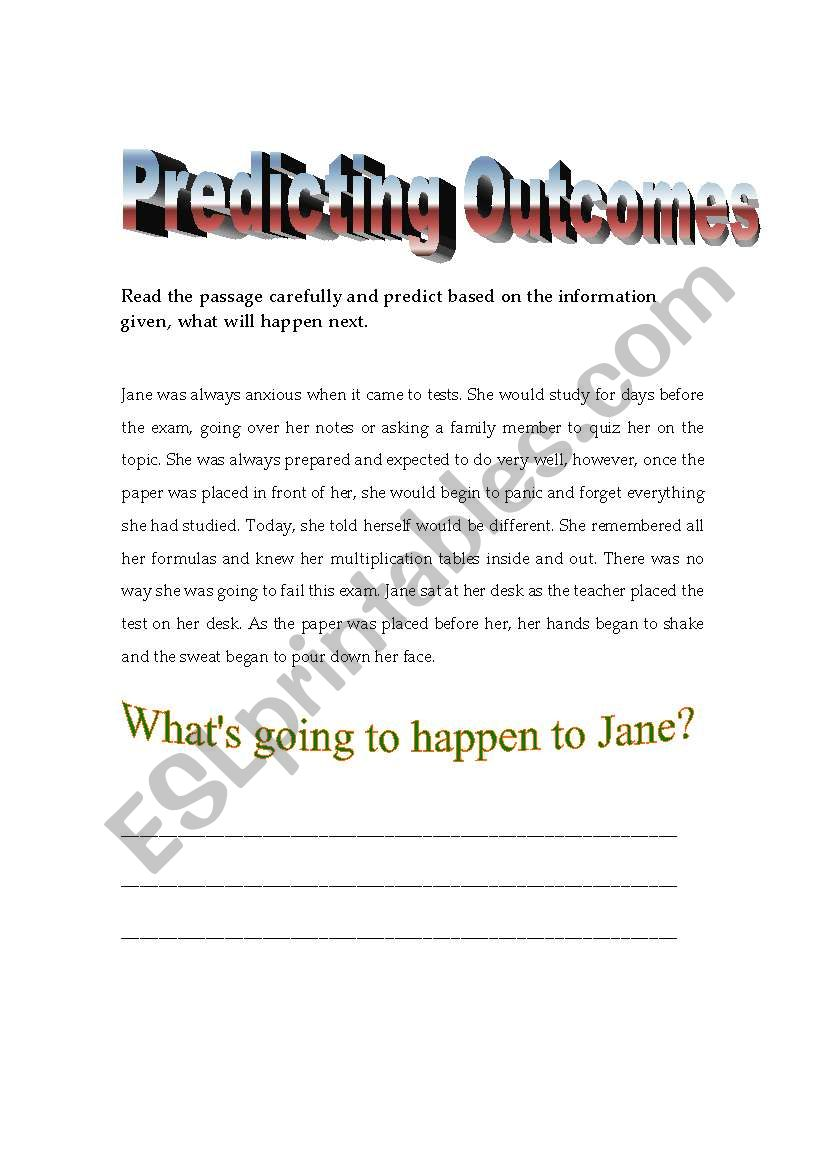 Predicting Outcomes Esl Worksheet By Lyrill