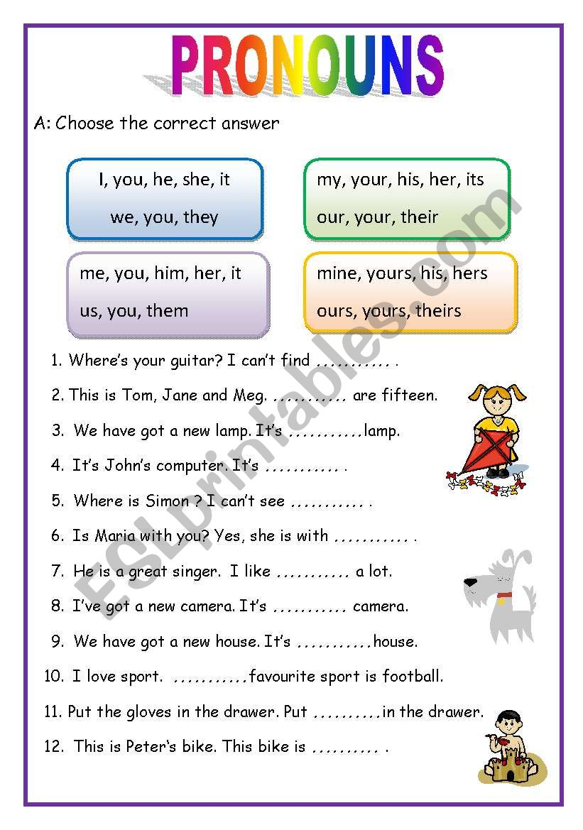 PRONOUNS - 2 pages (English for beginners)