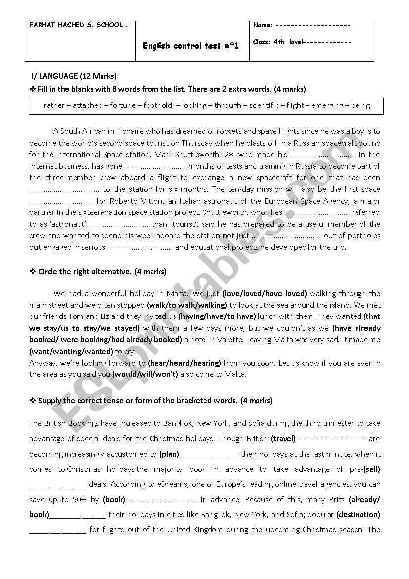 Mid-term test Bac worksheet