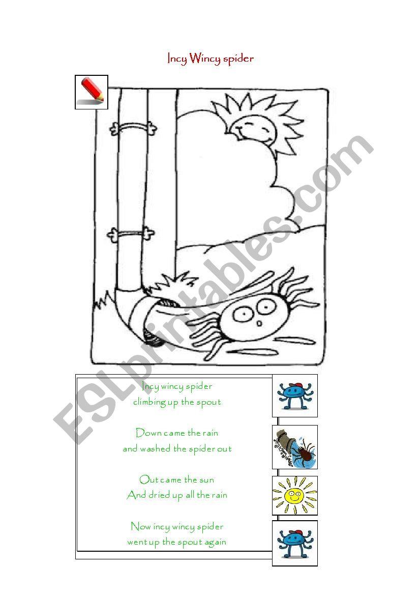 Incy Wincy Spider worksheet