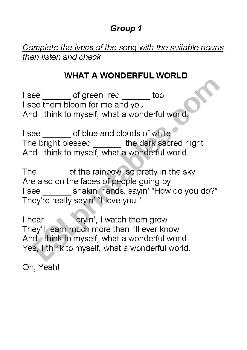 What A Wonderful World Song Tasks Esl Worksheet By Zovopo